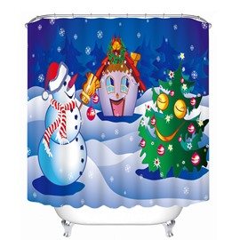 Cartoon Snowman Playing with Christmas Tree and Cabin Printing Christmas Theme 3D Shower Curtain