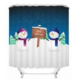 Cartoon Snowman Lover Printing Christmas Theme 3D Shower Curtain