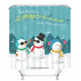 Colorful Rock Snowmen Printing Christmas Theme 3D Shower Curtain