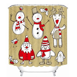 Stick Figures Santa Snowman and Reindeer Printing Christmas Theme Bathroom 3D Shower Curtain
