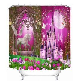 Dreamy Unicorn and Castle Printing Bathroom 3D Shower Curtain