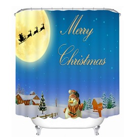 Cute Snowman Waving and Santa Shadow Printing Christmas Theme Bathroom 3D Shower Curtain