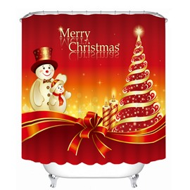 Cartoon Snowman Father and Son Printing Christmas Theme Bathroom 3D Shower Curtain