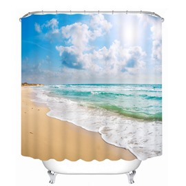3D Beach Under the Blue Sky Printed Polyester Shower Curtain