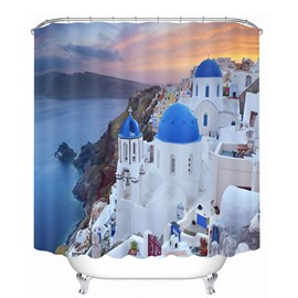 Beautiful Greece Aegean Sea Town Printing Bathroom 3D Shower Curtain