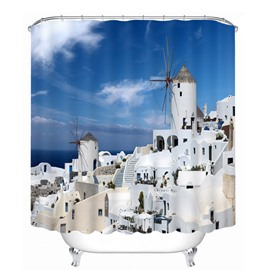 The Beautiful Town in Greece Aegean Sea Printing Bathroom 3D Shower Curtain