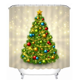 Flaring Christmas Tree with Decors Printing Bathroom 3D Shower Curtain