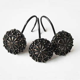 Classical Black Floral Pattern Resin 12-Pieces Shower Curtain Hooks