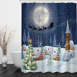 Dreamy Christmas Theme Printing Bathroom 3D Shower Curtain