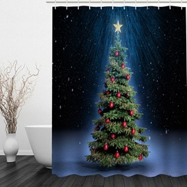 Decoration Christmas Tree Printing Bathroom 3D Shower Curtain