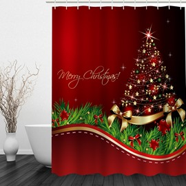 Concise Red Christmas Tree Printing Waterproof Bathroom 3D Shower Curtain