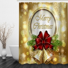 Golden Jingle Bell Printing Christmas Theme Bathroom 3D Shower Curtain