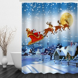 Santa Riding Reindeer Printing Christmas Theme Bathroom 3D Shower Curtain