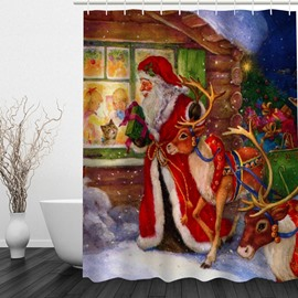 Oil Painting Christmas Night Printing Bathroom 3D Shower Curtain