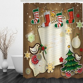 Colorful Christmas Theme Bathroom 3D Shower Curtain