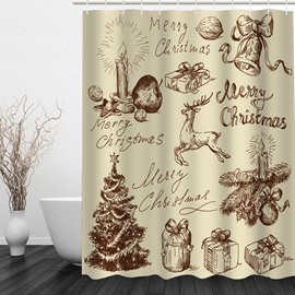 Hand Painted Christmas Theme Bathroom 3D Shower Curtain