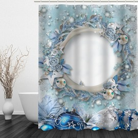 Mysterious Hole Printing Christmas Theme Bathroom 3D Shower Curtain