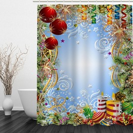 Clip Art Christmas Theme Decor Printing Bathroom 3D Shower Curtain