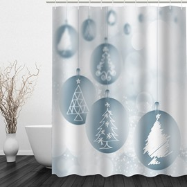 Stick Figures Christmas Tree Printing Bathroom 3D Shower Curtain
