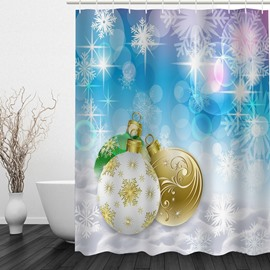Christmas Balls Printing Waterproof Bathroom 3D Shower Curtain