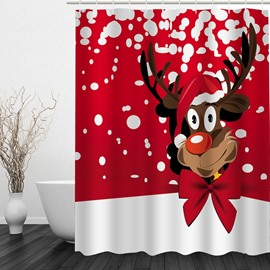 Cartoon Cute Reindeer Printing Christmas Theme Bathroom 3D Shower Curtain