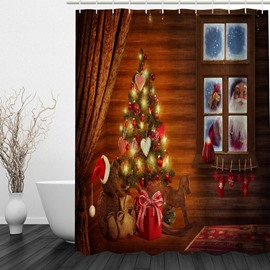 Santa outside the Warm House Printing Christmas Theme Bathroom 3D Shower Curtain