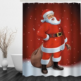Laughing Santa Pulling Package Printing Christmas Theme Bathroom 3D Shower Curtain