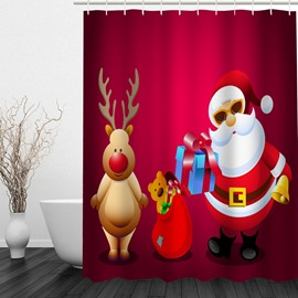 Clip Art Santa and Reindeer Printing Christmas Theme Bathroom 3D Shower Curtain