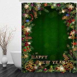 Green Bathroom Decor Christmas Theme 3D Shower Curtain