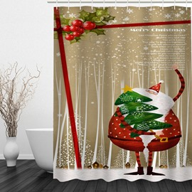 Funny Santa Holding Christmas Tree Printing Bathroom 3D Shower Curtain