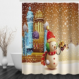 Cute Snowman Holding Gift Printing Christmas Theme Bathroom 3D Shower Curtain