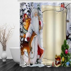 Cartoon Santa and Animals Printing Christmas Theme Bathroom 3D Shower Curtain