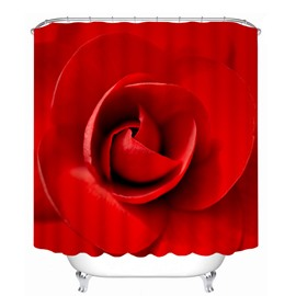 Vivid Red Rose 3D Printed Bathroom Waterproof Shower Curtain