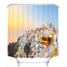 Amazing View of Greece 3D Printed Waterproof Shower Curtain