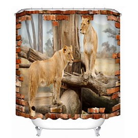 Couple Lions Standing on the Wood 3D Printed Bathroom Waterproof Shower Curtain