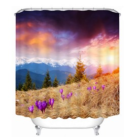 Beautiful Sunset Scenery in the Valley 3D Printed Bathroom Waterproof Shower Curtain