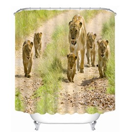Cute Lion Family Walking 3D Printed Bathroom Waterproof Shower Curtain