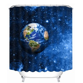 Dreamy Earth and Galaxy 3D Printed Bathroom Waterproof Shower Curtain
