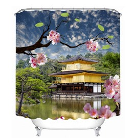 Charming Pink Cherry Blossoms 3D Printed Bathroom Waterproof Shower Curtain