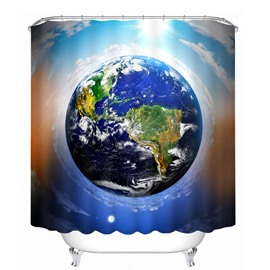 The Earth Overlooking in the Space 3D Printed Bathroom Waterproof Shower Curtain