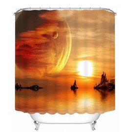 Fairyland Space in Sunset 3D Printed Bathroom Waterproof Shower Curtain