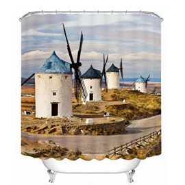 Inviting Windmill in the Wilderness 3D Printed Bathroom Waterproof Shower Curtain