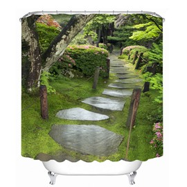 Beautiful Courtyard 3D Printed Bathroom Waterproof Shower Curtain