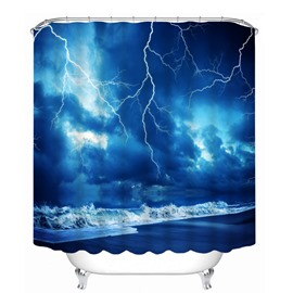 Lightning in the Seaside 3D Printed Bathroom Waterproof Shower Curtain