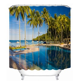 Peaceful Seaside Resort 3D Printed Bathroom Waterproof Shower Curtain