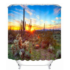 Beautiful Sunset Scenery of the Desert 3D Printed Bathroom Waterproof Shower Curtain