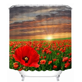 Beautiful Red Flower Sea 3D Printed Bathroom Waterproof Shower Curtain