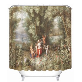 Classic Oil Painting 3D Printed Bathroom Waterproof Shower Curtain