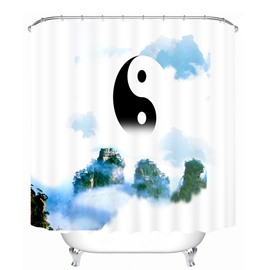 Chinese Yin and Yang 3D Printed Bathroom Waterproof Shower Curtain