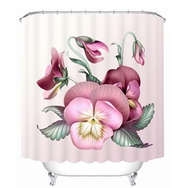 Elegant Pansy Flower 3D Printed Bathroom Waterproof Shower Curtain